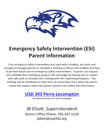 Emergency Safety Intervention (ESI) Parent Information PDF